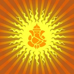 Lord Ganesha Sign on Sun Burst Background