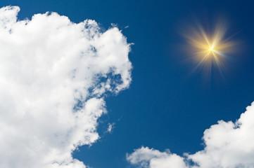 Amazing sun in the blue sky.