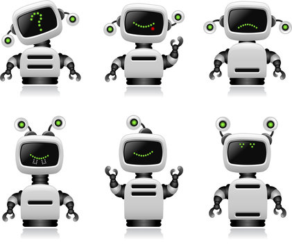 Cute Robot Set. To see the other vector robot illustrations , please check Robot collection.