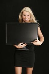 Frau mit Bildschirm