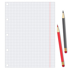 Sheet of white paper with pencils