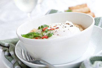 Oriental spicy noodles with egg and red chilis