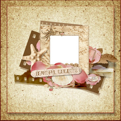 Vintage frame with rose petals and seashells