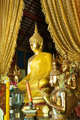 Gold buddha image in thai temple