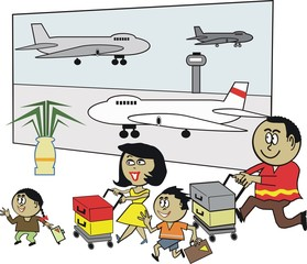 African family travel cartoon