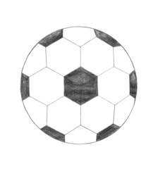 Soccer ball sign, pencil scribble drawing, sketch