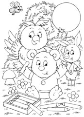 bear-cub, owlet and piglet drawing with pencils