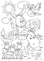 Donkey, hare and bird with pencils