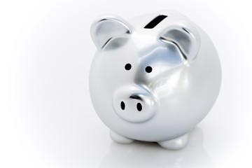 Cochon tirelire argent