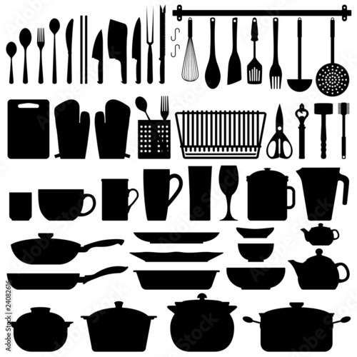 """Kitchen Utensils Silhouette Vector"" 스톡 이미지, 로열티프리 벡터 파일"