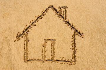 Beach Home - drawn out on a beach