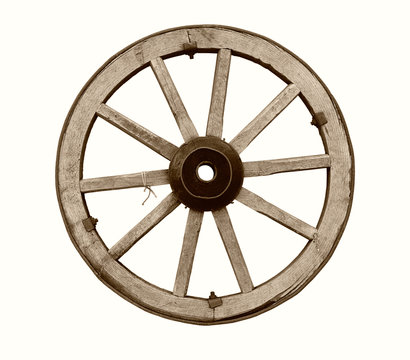 Vintage wooden wheel isolated on white