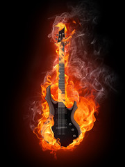 Printed roller blinds Flame Electric Guitar