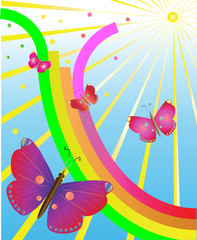 Butterflies in delight from a rainbow and the sun