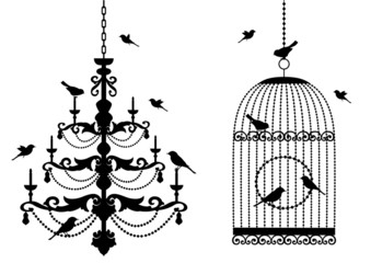 Aluminium Prints Birds in cages birdcage and chandelier with birds, vector