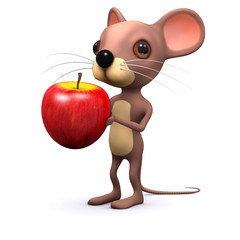 3d Mouse holds apple