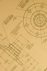 Fototapete - Engineering detail drawing