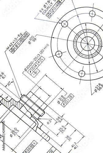 Fototapete Engineering detail drawing