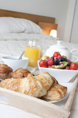 breakfast in bed close up