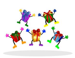 fröhliche, springende geschenke