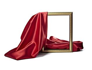 silk satin fabric texture background wooden frame