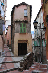 Street in Menton, narrow houses
