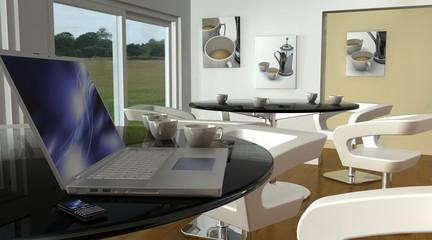 laptop in cafe bar wi-fi hotspot