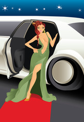 Red carpet celebrity vector illustration.