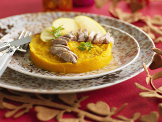 Photo : mashed pumpkin with apples and sliced duck breasts