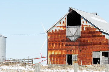 Windmill Behind Old Barn