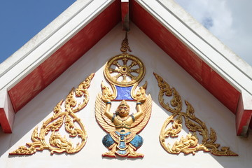 art on gable of temple, Wat Boonyawad, Mahasarakam