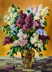 Lilac bouquet in a vase