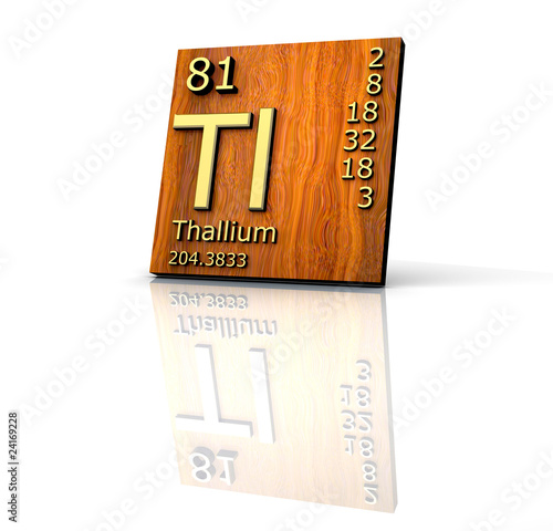 Thallium Form Periodic Table Of Elements Wood Board Stock Photo