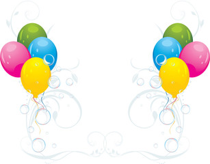 Colorful balloons and bubbles. Festive composition