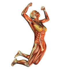 Wall Mural - Muskelstudie Frau beim Sprung