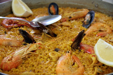 Paella with shrimps and mussels Spain