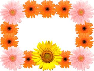 ヒマワリとガーベラの花の輪のフレーム