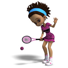 sporty toon girl in pink clothes plays tennis. 3D rendering with