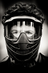 Portrait of paintball player