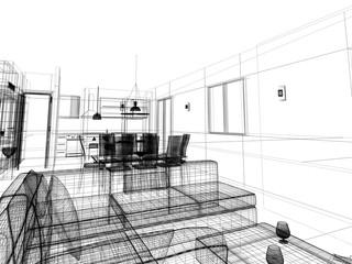 interior wireframe progetto rendering