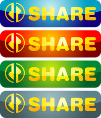 Share icon illustration with text and graphics