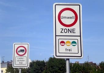 Verkehrsschild Umweltzone Plaketten