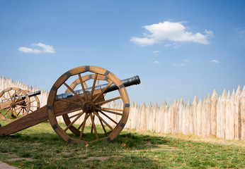 ancient cannon battery in wooden fortress