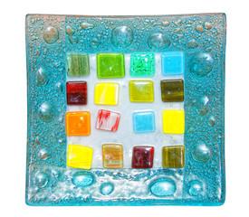 decorative blue glass plate