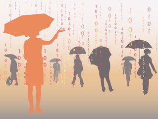 People under digital rain, vector illustration.