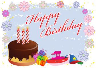 Happy Birthday Colorful Illustration in Vector