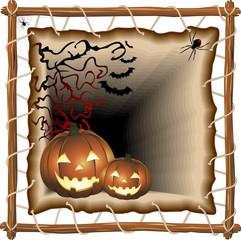 Halloween su Telaio-Halloween Pumpkins on Frame-Vector