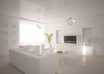 white interior composition