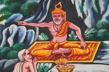 art painting on wall, Wat Nonrasi, Borabue, Mahasarakam
