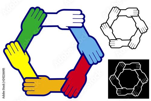 """""""Manos Unidas En Diferentes Colores"""" Stock Image And"""